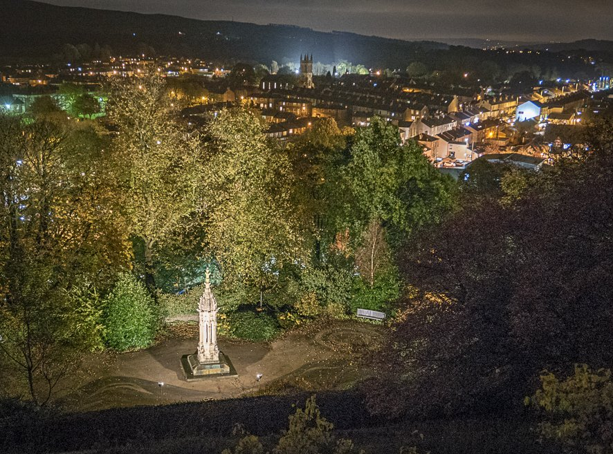 Image showing completed Pinnacle by night with Clitheroe skyline