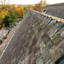 Image showing slates being laid on the church roof