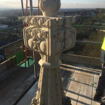 Image showing completed stone finial on top of the pinnacle