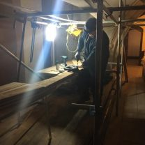 Image showing joiner working on part of the new vaulted ceiling structure