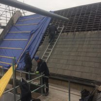 Image showing roof slates being stripped at the Chapel
