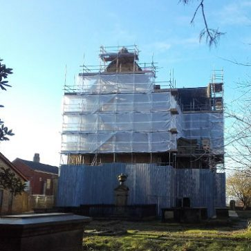 Image showing the scaffold for the restoration works at Dukinfield Unitarian Church