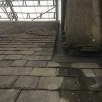 Image showing lead work on the roof of the church