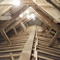 Image showing the timber construction inside the roof space at the Church