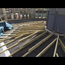 Image of initial stage of the timber roof deck