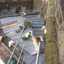 Image showing lead workers laying new lead roof