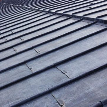 Close up of lead rooding works at St Anne's Church, Manchester