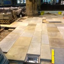 Image showing Sandstone flags being laid as part of restoration project