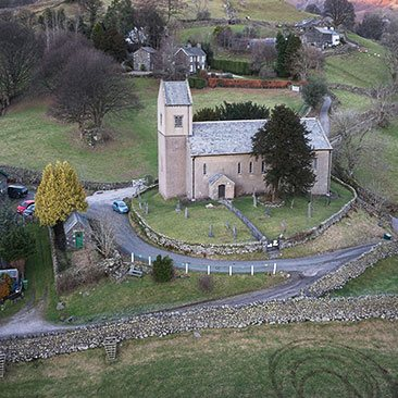 Drone image showing St Cuthbert's, Kentmere