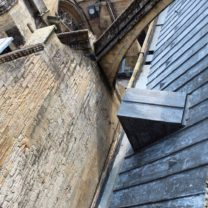Image looking down at the completed North Aisle roof with access hatch