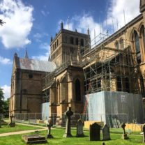 Image showing the scaffold being constructed to the South Aisle roofs