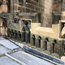 Image showing Parapets which have been taken down and rebuilt with newly carved Battlement stone