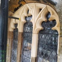 Image of the newly carved and fitted Tracery window