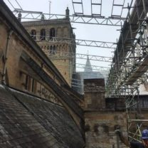 Image showing the frame work of the scaffolding temporary roof