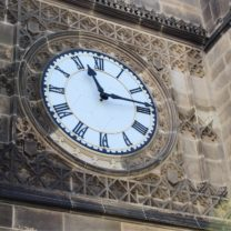 Image showing the newly installed Clock Face with surrounding restored Stone pieces