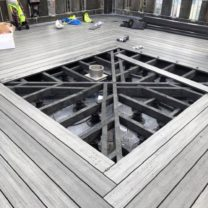 Image showing decking nearing completion to the top of the Tower