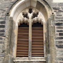 Image of the New Oak Louvres along with new masonry to Bellfry Openings