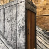 Image showing new timber Oak timber door to access hatch, including new surrounding lead work