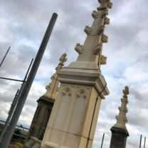 Image showing new Lightening Conductors which have been installed on the new Pinnacles to bring the Building up to current legal standards