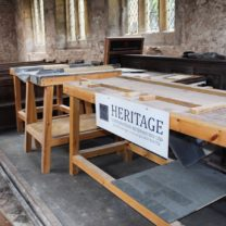 Image showing two of the work benches set up for training days for local residents, schools and the churches conservation trust to provide an insight into the work we were carrying out