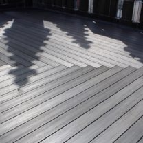 Image showing the newly installed Composite Decking to the Tower Roof
