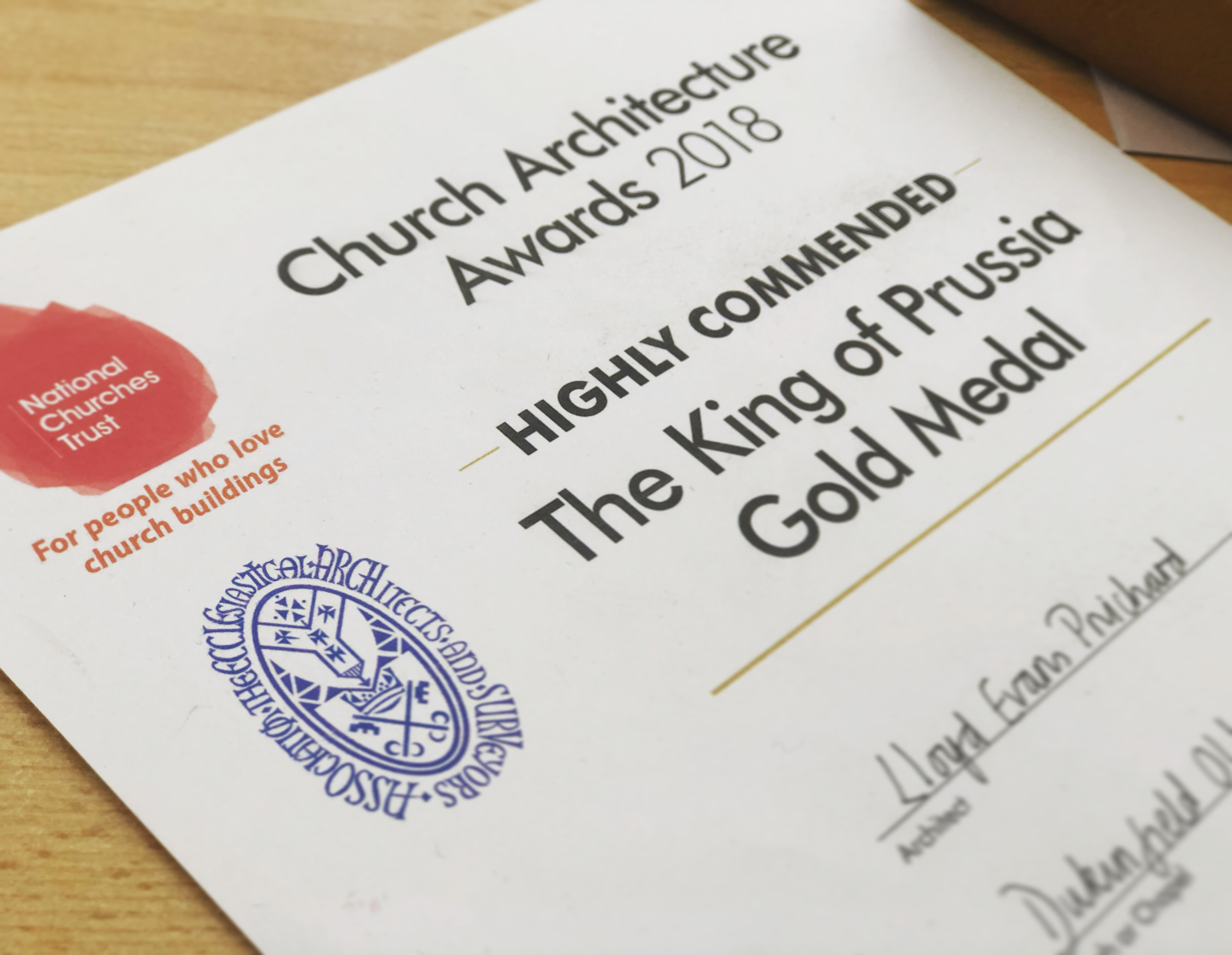 Image of the certificate awarded for Highly Commended The King of Prussia Gold Medal