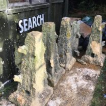 Image showing the existing Pinnacles carefully removed ready to be returned to our workshop to be used as carving templates