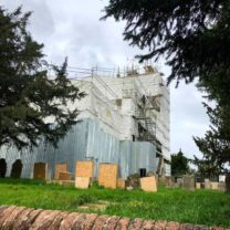 Image showing the full scaffold to enable work to be carried out around the whole exterior of the Church