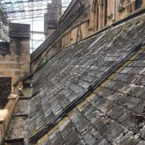 Image showing the Aisle roof prior to existing slate being stripped