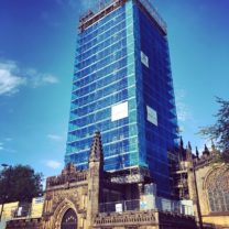 Image of the scaffold up the Tower at Manchester Cathedral